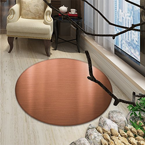 Copper Round Area Rug Carpet Brushed Copper Plate Facade Illustration Tough Industrial Element Modern ArtOriental Floor and Carpets Peach Chocolate