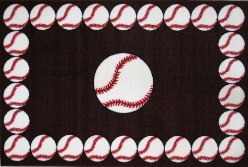 Fun Rugs Baseball Time Accent Rug, 39-Inch by 58-Inch