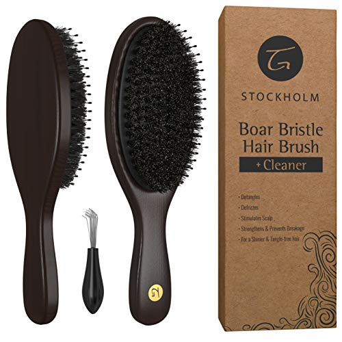 (Boar Bristle Hair Brush for Men & Women - Hairbrush with Added Detangling Pins for Optimally Getting Natural Oils Throughout All Hairs & Stimulating Scalp - Boar Hairbrushes Recommended by Stylists)