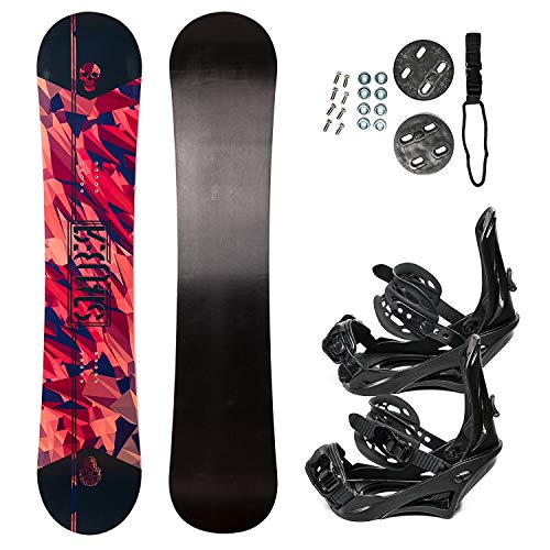 STAUBER Summit Snowboard & Binding Package, Size 161, 158, 153, 148,133 - Best All Terrain, Twin Directional, Hybrid Profile - Adjustable Bindings - Designed for All Levels