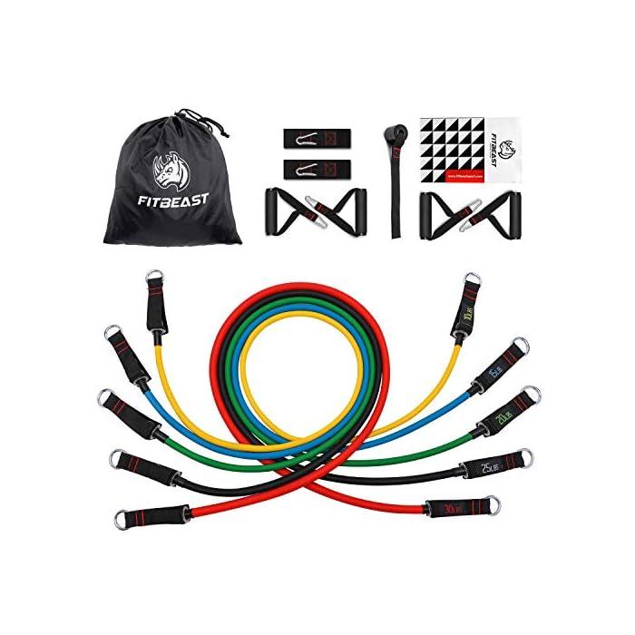 """511DTBHBKsL 【MÚLTIPLES ELECCIONES DE RESISTENCIA】: El set de bandas de resistencia de FitBeast incluye 5 bandas para entrenar, cada una de lastiene 48 """"de largo, cada uno viene con tubos de distintos colores y también vienen marcados con el peso para identificarlo. Los colores representan distintos niveles de resistencia: amarillo (10lbs), azul (15lbs), verde (20lbs), negro (25lbs) y rojo (30lbs). El largo de las bandas: 48"""", puedes usarlos por sí solos o en combinación, de acuerdo a tus necesidades. 【SET DE BANDAS MEJORADAS】: Cada set de bandas de resistencia mejorada viene con 2 correas suaves para tobillos brindando mayor comodidad, 4 manijas acolchadas para entrenar en grupo y un GRAN anclaje para puerta, esto agrega mayor variedad de ejercicios de resistencia. Cumplirá con tus necesidades de entrenamiento personales, sea para pecho, espalda, caderas, abdomen, hombros, muslos, etc. El diseño inverso de las hebillas reforzadas brinda una instalación y desinstalación más sencilla. 【CÓMODO Y DURADERO】: El kit de bandas de resistencia de FitBeast fabricado con látex natural de alta calidad, no dañará al medio ambiente, es duradero y elástico. Esta banda de doble grosor evitará que se rompa o se deforme, incluso después de 30,000 estiramientos convencionales. El material de alta calidad en la correa para tobillos asegurará una mayor comodidad. Las hebillas reforzadas y anclajes para puertas agregan al atractivo que brinda el set de bandas de ejercicio de FitBeast."""