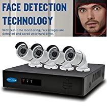 OWLTECH 4 Channel Face Detection 5MP NVR with preinstall 1TB HDD - 4 x 4MP 3.6mm IP Bullet Camera with Built in Microphone plus 100ft Cable and Accessories