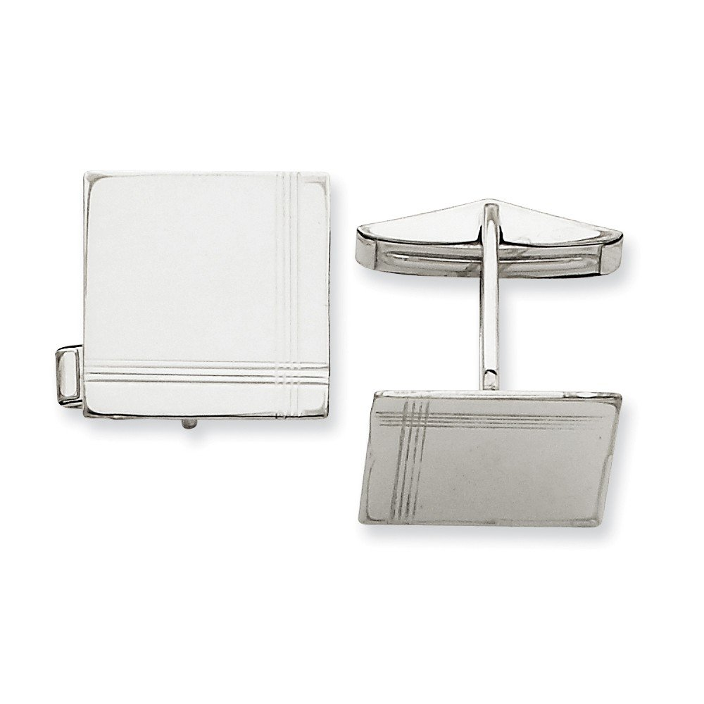 14k Solid White Gold Square with line Design Cuff Links