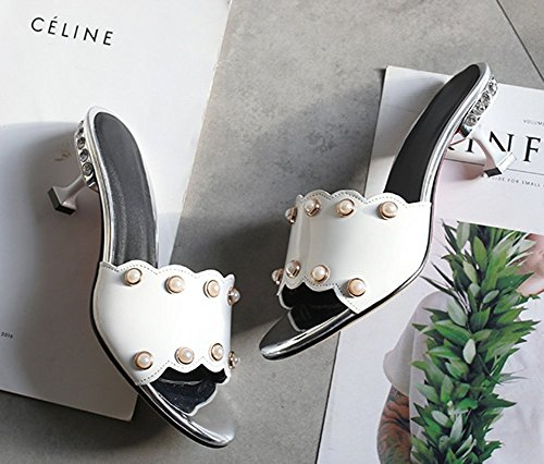 Heels Kitten Toe Women's Daily Beads Sandals Aisun Mules White Open F6RZnq