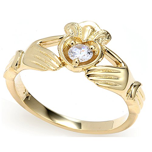 14K Yellow Gold Beautiful Claddagh Ring - 1783 (5)