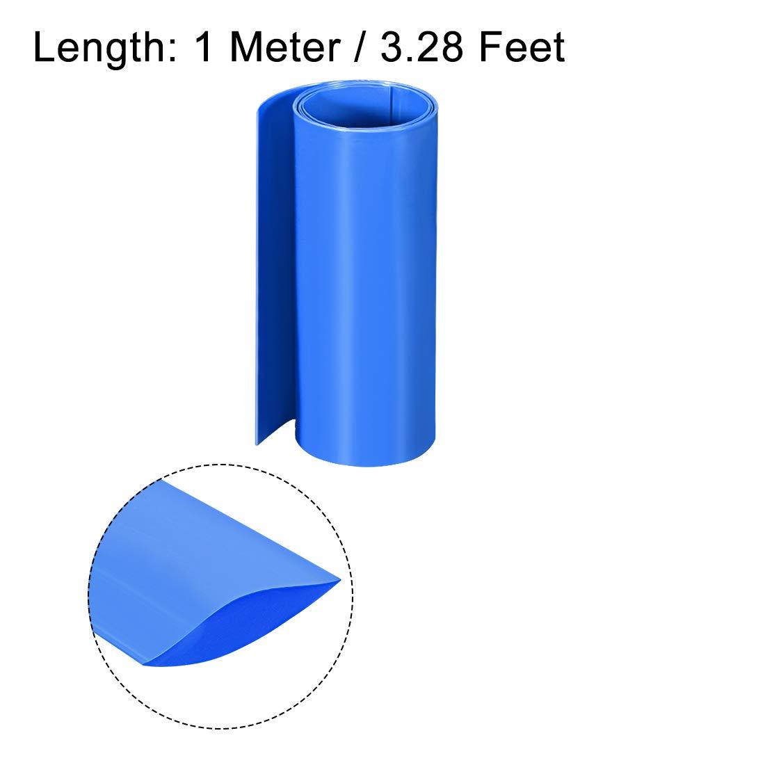 sourcing map PVC Schrumpfschlauch 140mm Flache Wicklung f/ür Doppelschicht 18650 1 Meter Blau