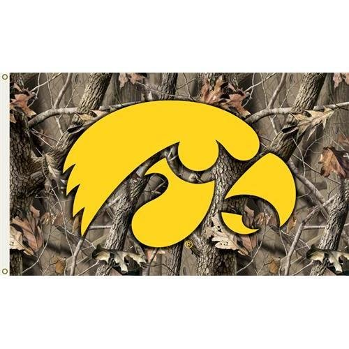 (Collegiate / College / NCAA Iowa Hawkeyes 3 Ft. x 5 Ft. Flag with Grommets - Realtree Camo Background)