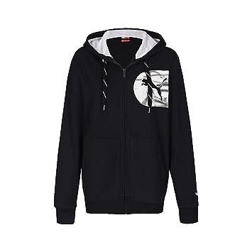 PUMA Herren Kapuzenjacke Graphic, Fleece, black white, M