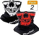 2 Packs Safety Reflective Riding Skull Face Mask Bandana Fishing Neck Gaiter Sun UV Dust Protection Windproof Ski Face Cover