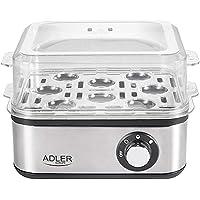 Adler Elektrische eierkoker, 1-8 eieren, 500 watt, roestvrijstalen verwarmingsplaat, automatische uitschakeling…
