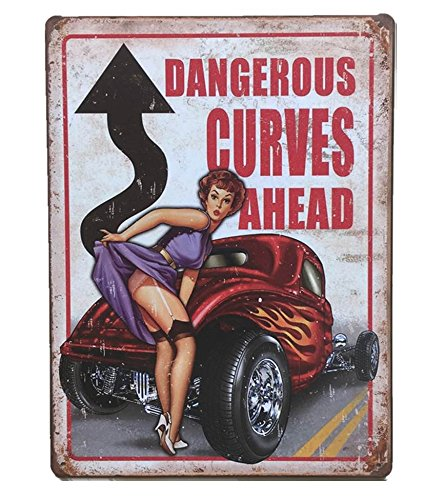 UNiQ Designs Dangerous Curves Ahead Garage Decor Tin sign - Perfect Vintage Airplane Decor Metal Sign or Retro Vintage Airplane Poster Wall  or Garage Funny Beer Art 12 x 8