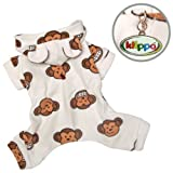 Adorable Silly Monkey Fleece Dog Pajamas/Bodysuit with Monkey Ears on the Hood – White – M, My Pet Supplies