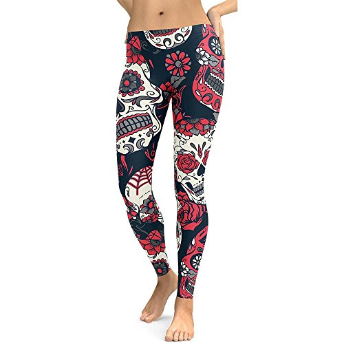 Big Women Leggings, Neartime High Waist Yoga Skull Print Running Fitness Pants Tights Workout Clothes (M, Red)