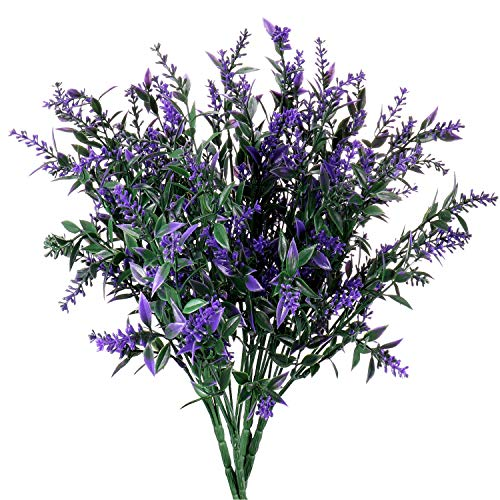 Artificial Plants Lavender Faux Breath UV Resistant Fake Shrubs Simulation Greenery Bushes House Office Garden Patio Indoor Outdoor Decor Wedding Table Flowers Arrangement Bouquet Filler - 4pcs