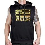 Interstate Apparel Men's Gold Foil Wrestling American Flag Sleeveless Vest Hoodie Medium Black