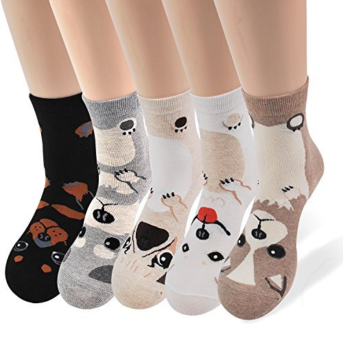 Women's Casual Socks - Cute Crazy Lovely Animal Cat Dog Lover Christmas Gifts Idea (5 Dogs)