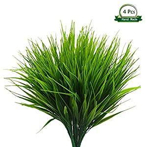 Wansong 4Pcs Artificial Wheat Grass Faux Shrubs Simulation Greenery Plastic Plants Indoor Outdoor Outside Home Garden Office Kitchen Bathroom Verandah Wedding Décor 43