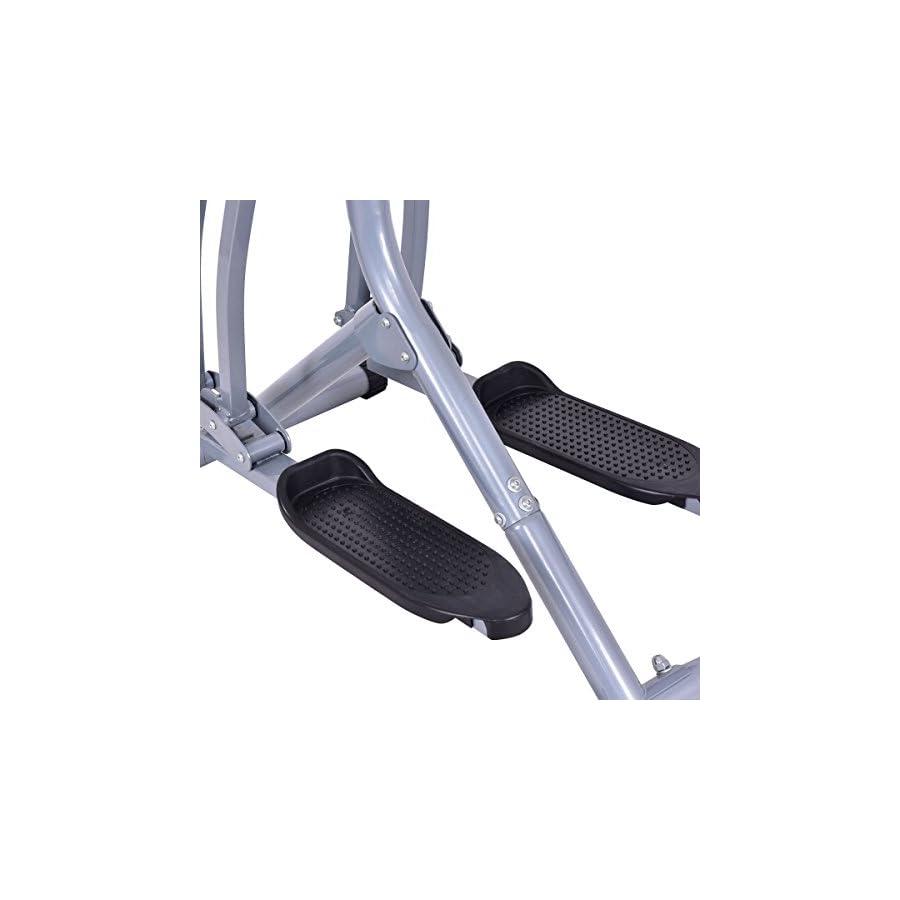Goplus Air Walker Glider Stride Elliptical Trainer Fitness Exercise Step Machine Workout Equipment W/ Computer