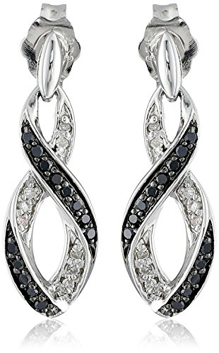 (Sterling Silver Ribbon Black and White Diamond Earrings (1/5 cttw, I-J Color, I2-I3 Clarity))