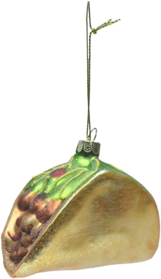 Treasure Gurus Hanging Taco Novelty Glass Christmas Tree Ornament Topper Food Xmas Decor