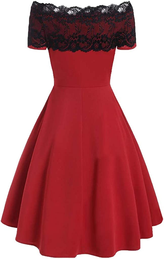 Festiday Womens Cocktail Dresses Casual Short Sleeve Strapless Lace Splicing Button Pleated Dress Party Evening Dresses Formal Wedding Prom Cocktail Gown