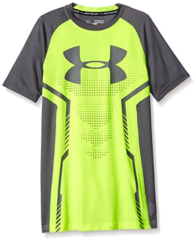 Under Armour Boys' UA HeatGear Armour Up Short Sleeve Fitted Shirt Small / 8 Big Kids High-Vis Yellow by Under Armour (Image #1)