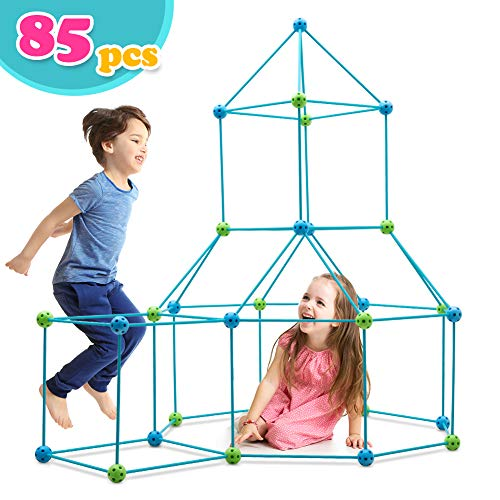 🥇 Obuby Kids Crazy Construction Fort Building Kit 85 Pieces Ultimate Forts Builder Gift Build Making Kits Toys for Boys and Girls to DIY Building Castles Tunnels Play Tent Rocket Tower Indoor & Outdoor