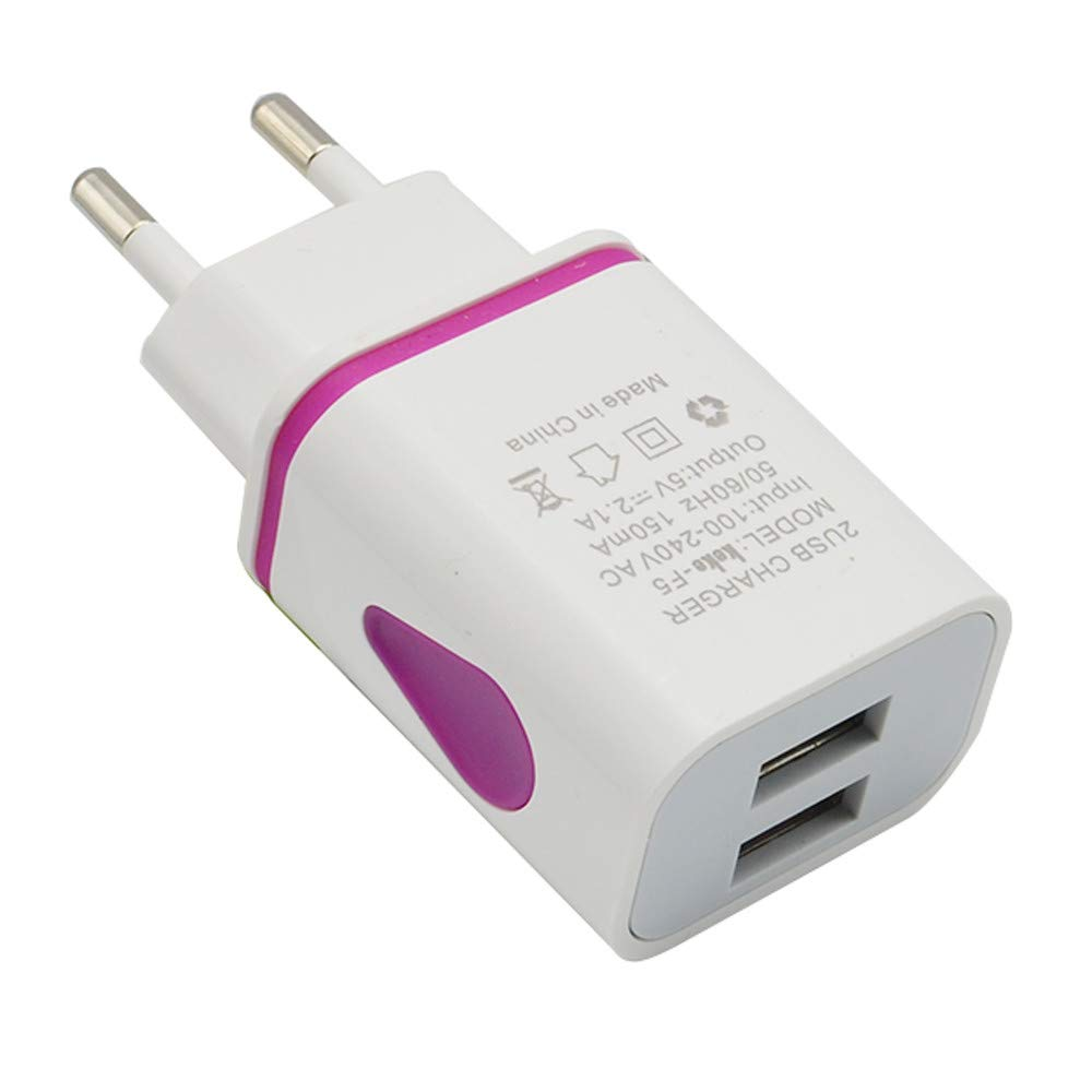 Tuscom 2 Port LED USB Portable High Efficiency EU Plug AC Charger,2A Low Energy Consumption,for Home Travel Wall Charger,for Phones Cameras IPAD,MP3 Players (Hot Pink) by Tuscom@ (Image #1)