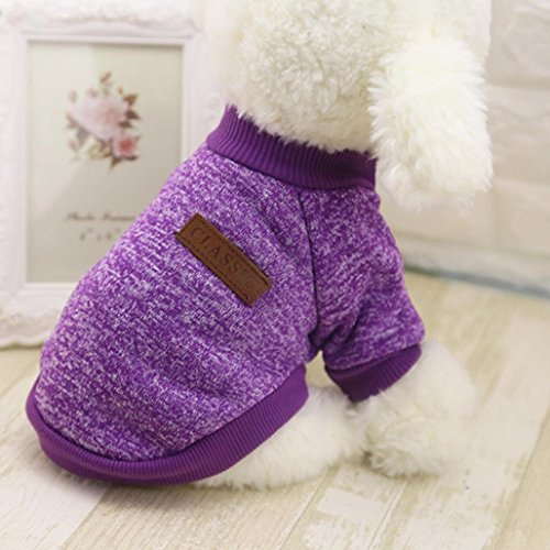 Image of MALLOOM Pet Dog Puppy Classic Sweater Coat Tops Fleece Warm Winter Knitwear Clothes (S, Purple)
