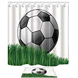 KOTOM Sports Decor, Cartoon Soccer Ball on Grassland for Kids, 69X70in Mildew Resistant Polyester Fabric Shower Curtain Suit With 15.7x23.6in Flannel Non-Slip Floor Doormat Bath Rugs