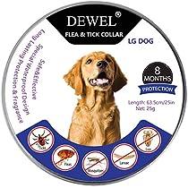 DEWEL Collar Antiparasitos Perros/Gatos contra Pulgas,Garrapatas y Mosquitos,Tamaño Ajustable e Impermeable para Mascota