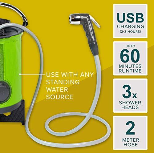511DWL65HJL Colapz Wiederaufladbare Campingdusche – Tragbare Dusche für Hunde – Jet Wash für Fahrräder – 1 Duschkopf – 1 Strahlkopf…