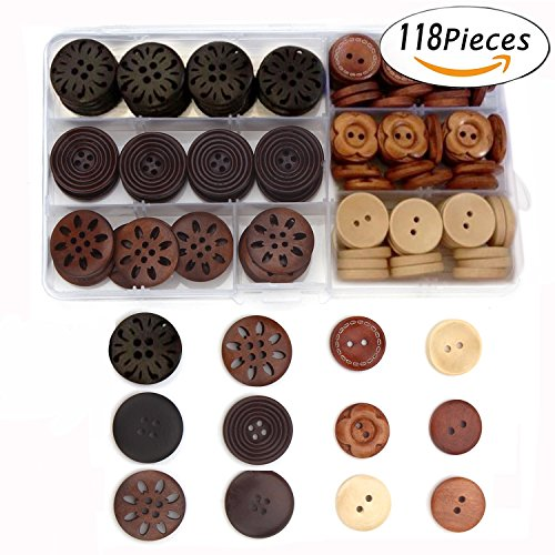 Assorted Round Wood Wooden Buttons Black Brown Beige 4 Hole Sewing Art DIY craft Supplies with Box 118pcs (Antique Small Button)
