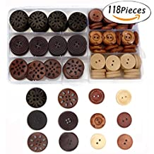 Assorted Round Wood Wooden Buttons Black Brown Beige 4 Hole Sewing Art DIY craft Supplies with Box 118pcs