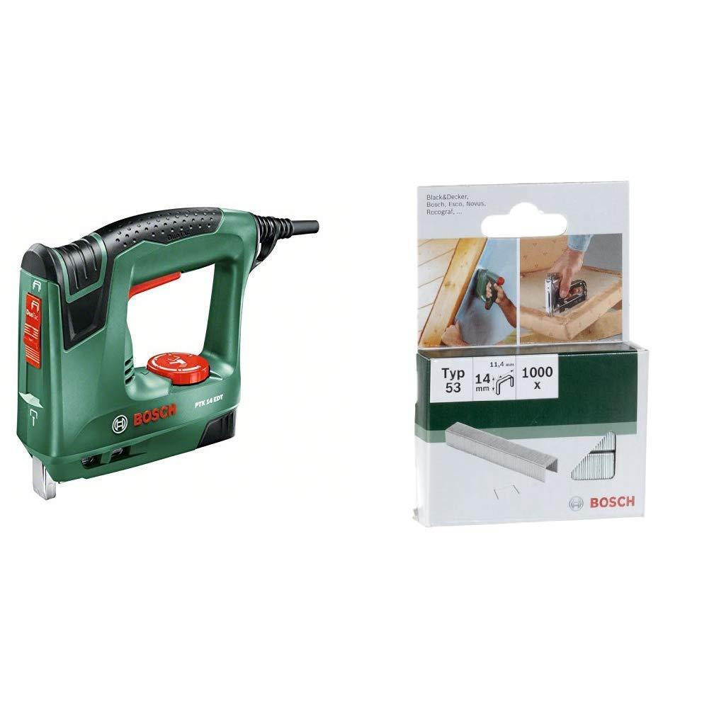 Bosch PTK 14 EDT - Grapadora eléctrica válida para grapas y clavos, 240 W, 240 V & 2 609 255 823 - Grapa tipo 53 (pack de 1000)