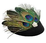 Zivyes 1920s Accessories Peacock Fascinator Hat Flapper Wedding Headpiece Halloween Costume