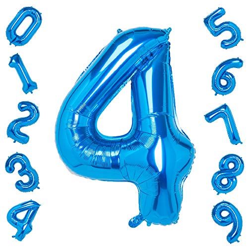 40 Inch Large Blue Number 4 Balloons,Foil Helium Digital Balloons for Birthday Anniversary Party Festival Decorations -