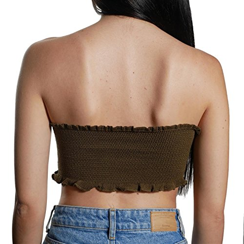 JUANA LA LOCA AND THE VICTORIANS - Mujer top Strapless crop moda Bralette sin mangas palabra de honor punto KAKHI