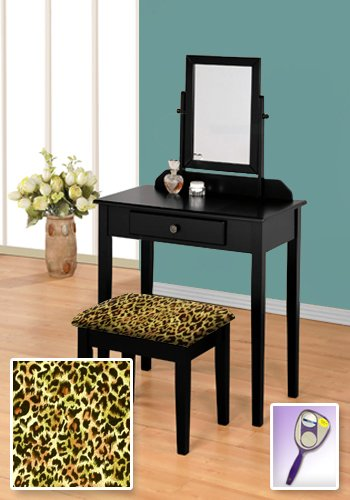New Black Wooden Make Up Vanity Table with Mirror & Cheetah Animal Print Themed Bench by The Furniture Cove
