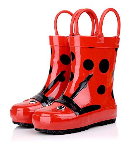 SK Studio Kinder Halbschaft Gummistiefel Jungen Regenstiefel Rutschfest Stiefeletten Mädchen Wasserdicht Schuhe Rot