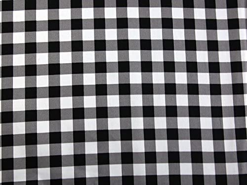 White Poly Cotton Check Tartan Fabric Material Black By Metre