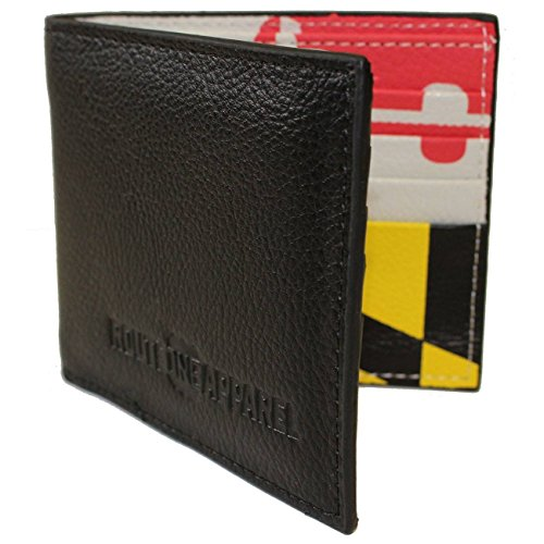 Route One Apparel | Black Leather Wallet with Maryland Flag Interior