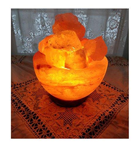 JIC Gem Salt Lamp Himalayan Fire Bowl Salt Rock Lamp Natural Salt Chunks with Bulb Dimmer Cord