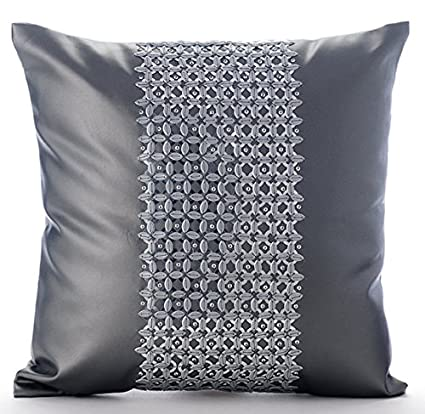 Amazoncom Grey Decorative Pillow Cover Metallic Sequins Club