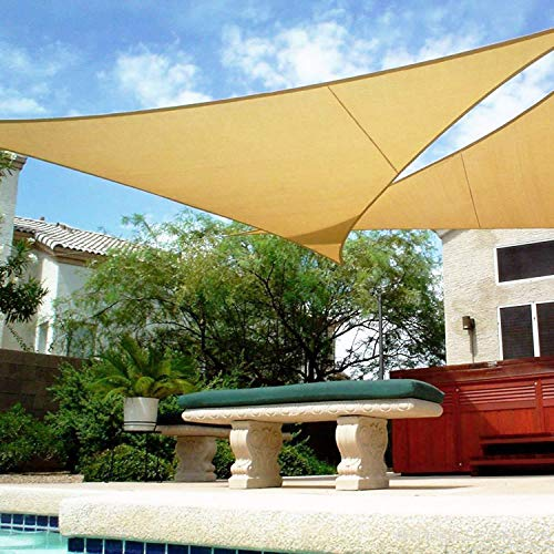(Shade&Beyond 16' x 16' x 16' Sand Color Triangle Sun Shade Sail for Patio UV Block for Outdoor Facility and Activities)