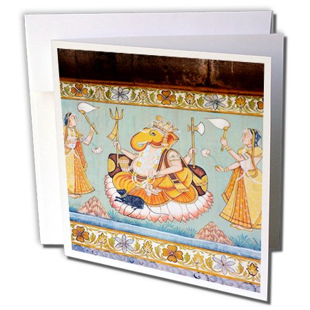 Danita Delimont - Inger Hogstrom - Artwork - Mural painted on the wall, Mehrangarh Fort, Jodhpur, Rajasthan, India. - 6 Greeting Cards with envelopes (gc_188254_1)