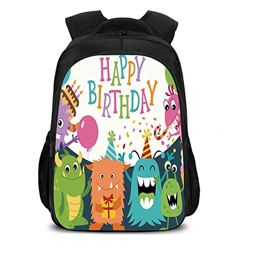 iPrint 15.7'' School Backpack,Birthday Decorations for Kids,Little Baby Monsters Party Cones Confetti Balloons Image,Multicolor,for Teenagers Girls Boys by iPrint