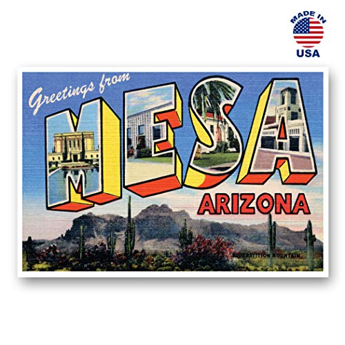 GREETINGS FROM MESA, AZ vintage reprint postcard set of 20 identical postcards. Large Letter Mesa, Arizona city name post card pack (ca. 1930's-1940's). Made in USA.