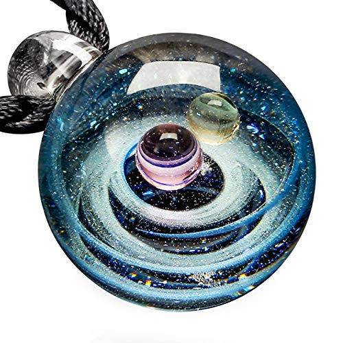 Sunligoo Glass Galaxy Pendant Necklace Universe Nebula Space Cosmos Glass Ball Jewelry Unique Special Birthday Christams Gift for Womens Girls #1