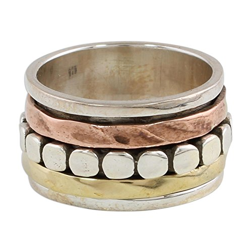 - NOVICA .925 Sterling Silver Dot Motif Brass Copper Spinning Meditation Ring 'Paved Road'